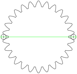 Diametrales Zweikugelmaß aus zwei gegenüberliegenden Kugeln