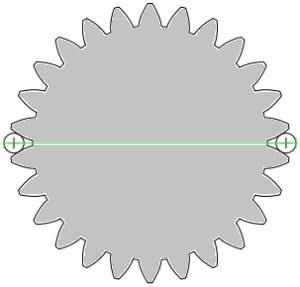 Diametrales Zweikugelmaß an einer Außenverzahnung