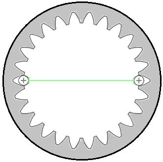 Diametrales Zweikugelmaß an einer Innenverzahnung