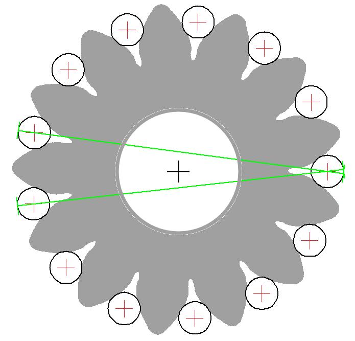 Diametrales Zweikugelmaß mit zentrischer Bohrung