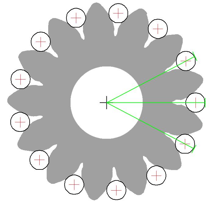 Radiales Einkugelmaß: Außenverzahnung, zentrische Radachse